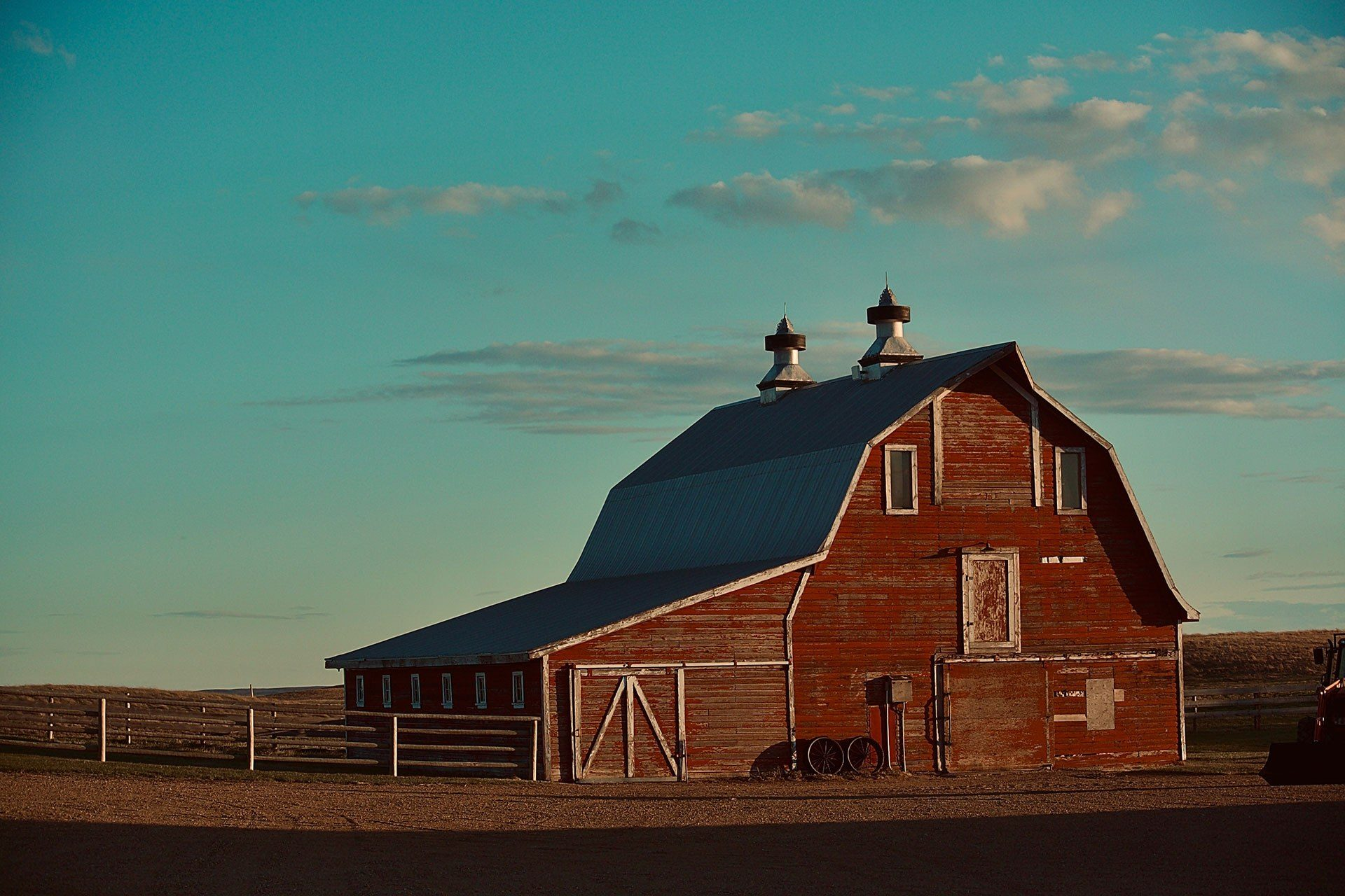Red Barn in Sunrise