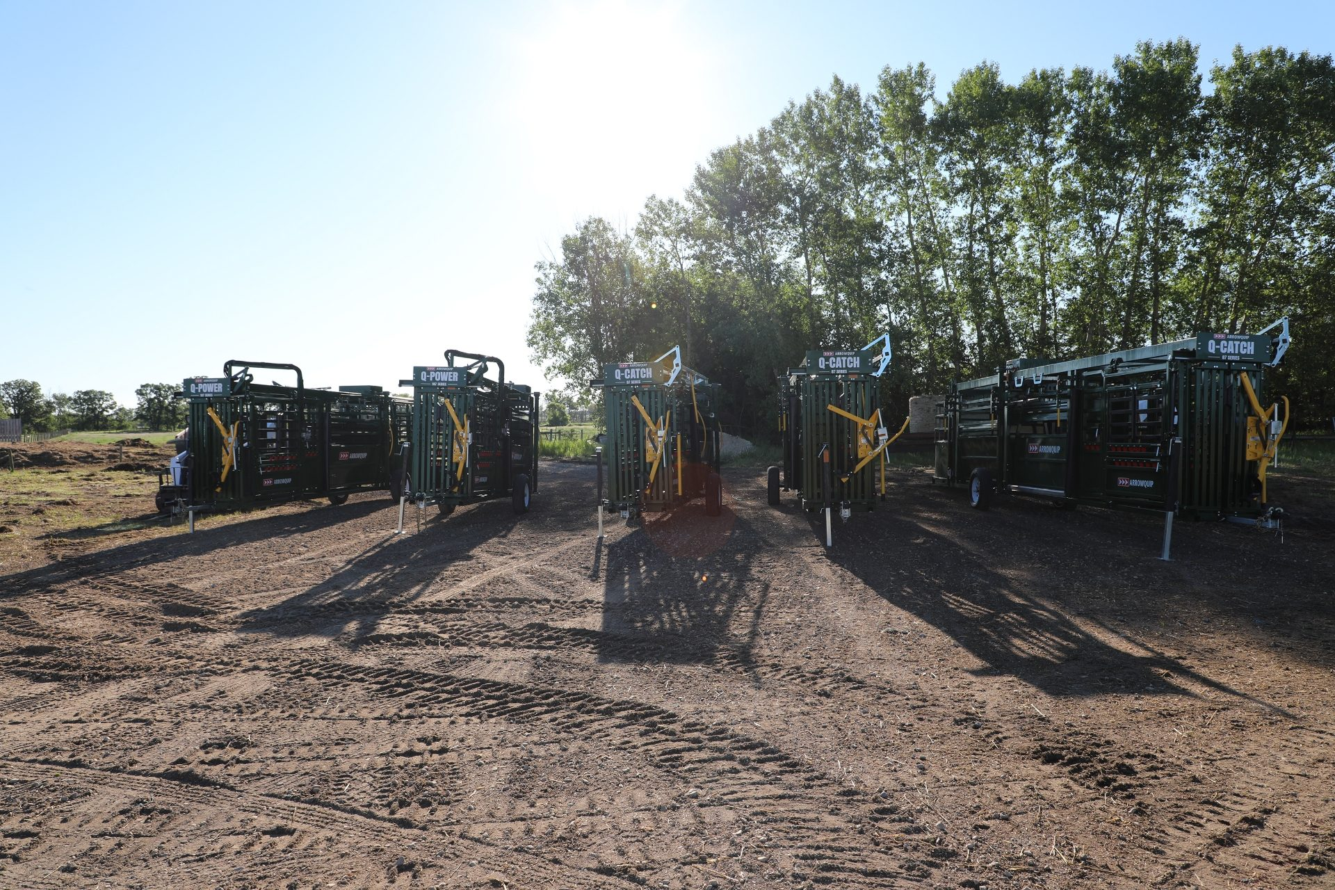 Lineup of 700 Series portable cattle handling equipment models by Arrowquip