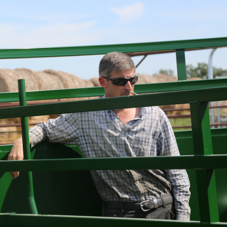 Steve Langrell, resident 'Mad Scientist' at Arrowquip, standing in BudFlow Cattle Tub