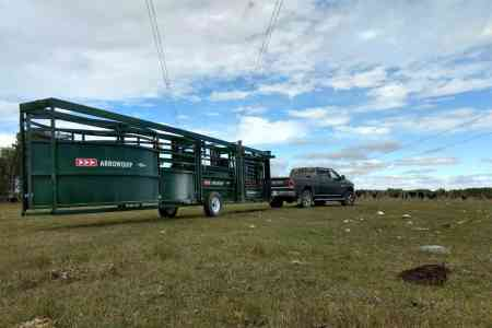 Portable cattle chute, alley & tub towed by RAM Truck