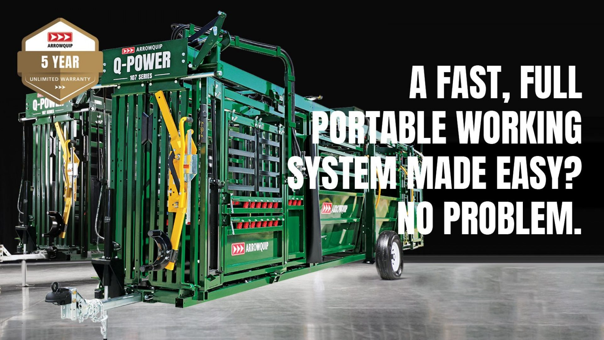 Q-Power 107 Series hydraulic portable cattle chute, alley and tub models