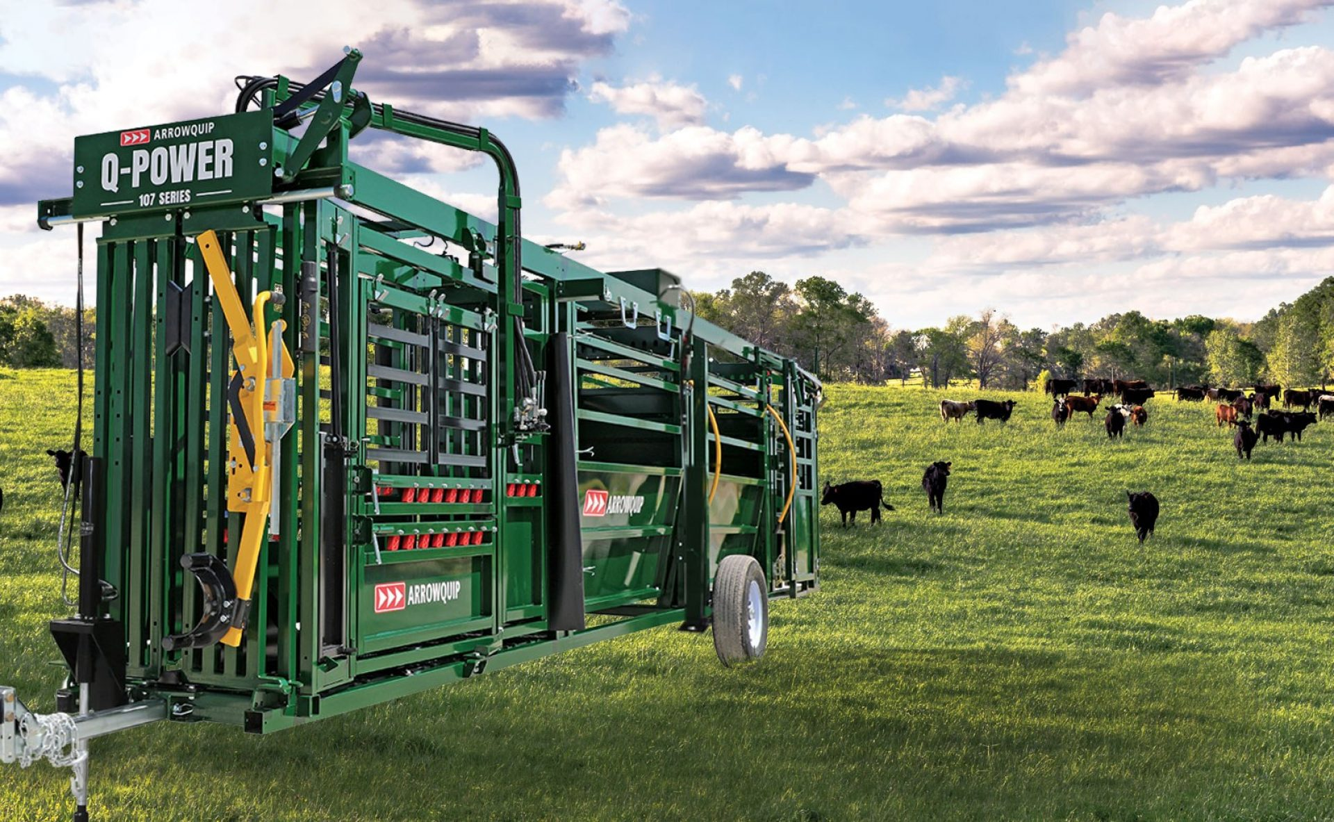 Hydraulic portable cattle crush, race and forcing pen in a field