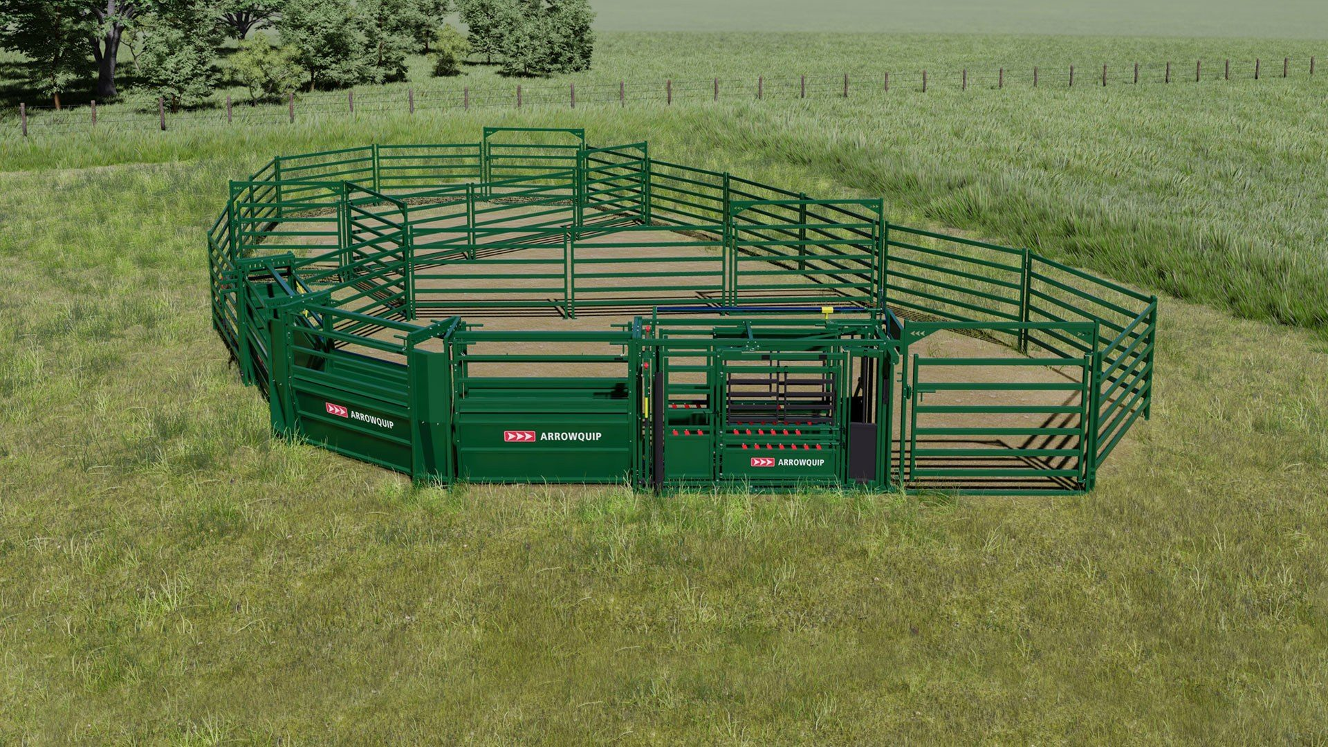 Custom cattle corral system design with cattle corral panels and squeeze chute