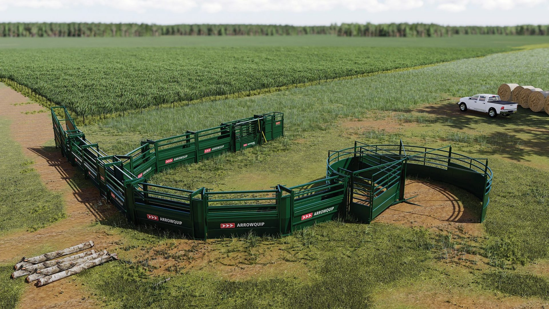 Large cattle working system with S-Flow Cattle Tub and Alley, Q-Catch Cattle Chute, and load-out section