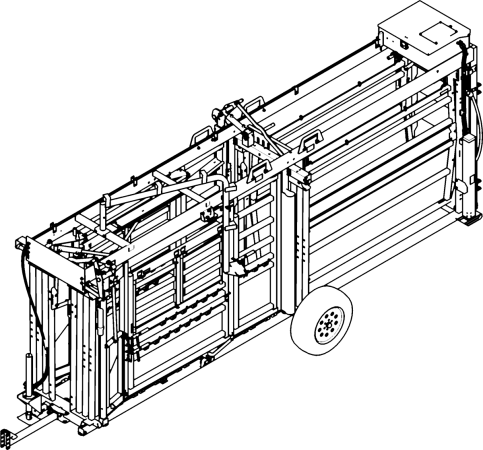 CAD Drawing of Q-Power 107 Series portable hydraulic cattle chute and alley