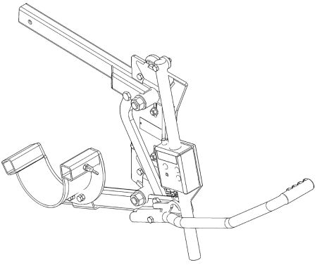 CAD drawing of a cattle head scoop