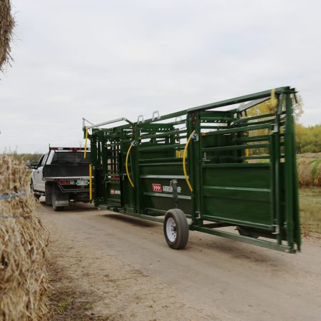 Towing a portable cattle handling system
