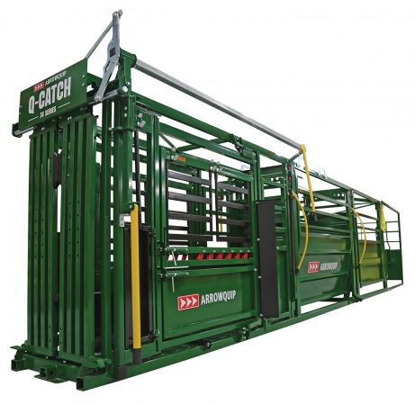 side view of the portable cattle handling system fully set up