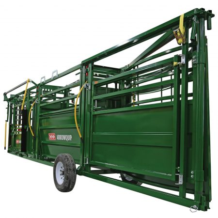 image of the portable cattle handling system in towing position from the rear.