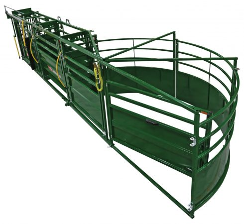 above image of a portable cattle handling system fully set up.