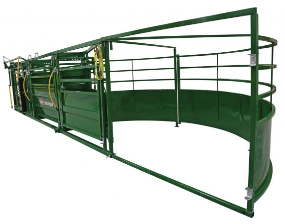 cattle crowding tub on portable cattle handling system