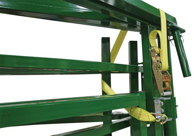 portable handling system secured for transport