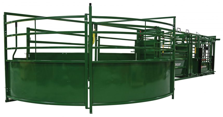 portable cattle handling system crowding tub unfolded from the back