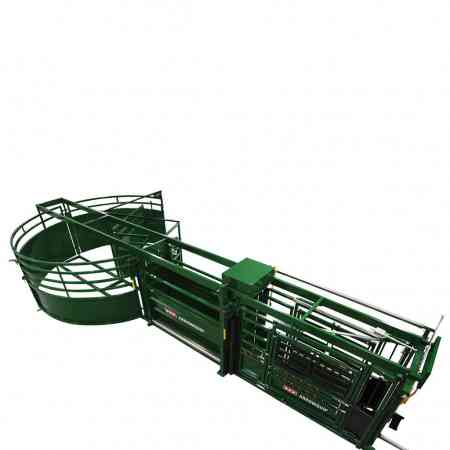 Q-Catch Portable Cattle Crush, Race and Forcing Pen Set Up On The Ground Above View