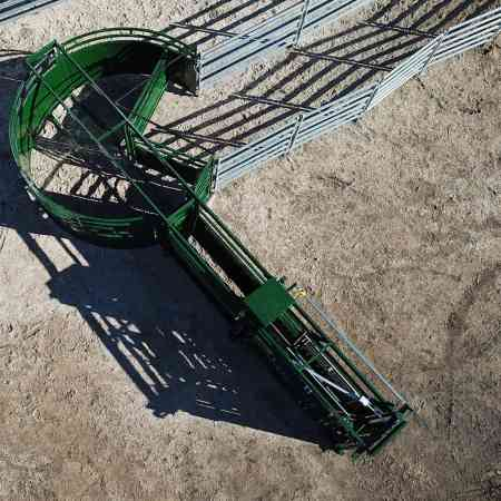 Q-Catch Portable Cattle Crush, Race and Forcing Pen Set Up On The Ground Above View In System