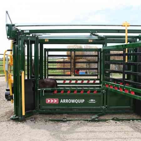 side view of Q Catch 86 series cattle crush by Arrowquip with top side access gate open