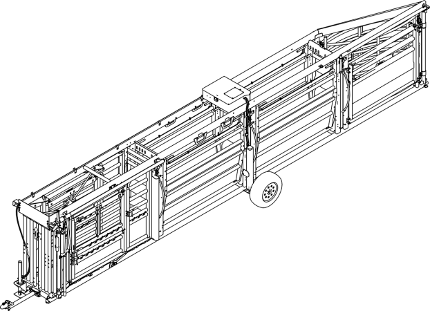 CAD Drawing of the Q-Catch 87 Series Portable Cattle Chute, Alley and Tub