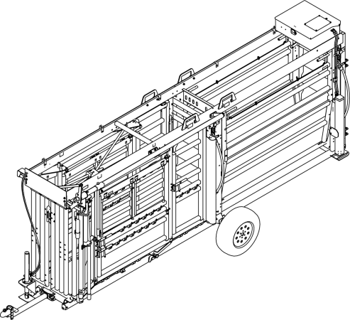 CAD Drawing of Q-Catch 87 Series Portable Cattle Chute and Alley