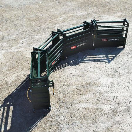 Above view of curved Easy Flow adjustable cattle alley