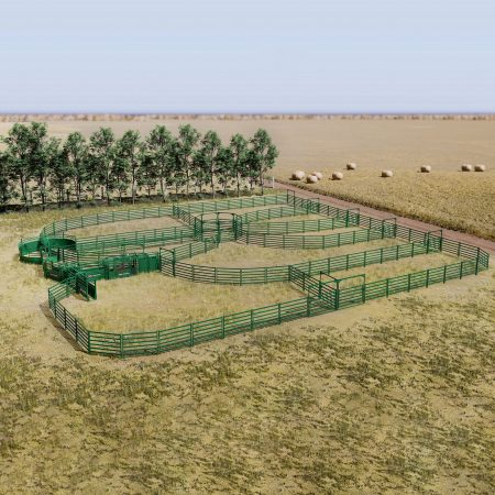 Overhead view of large cattle handling system design idea