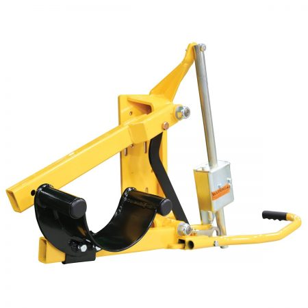 Yellow Q-Catch cattle head holder fully closed