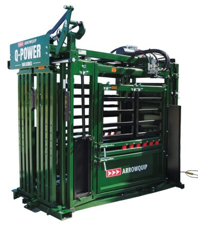 Side view of standard hydraulic squeeze chute with no vet cage