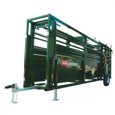 Front view of the portable cattle tub and alley