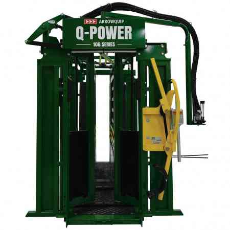 Front view of Q Power 106 Series with open yoke gate and closed hydraulic squeeze by Arrowquip