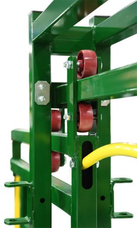 Close up view of cattle race gate hinges by Arrowquip