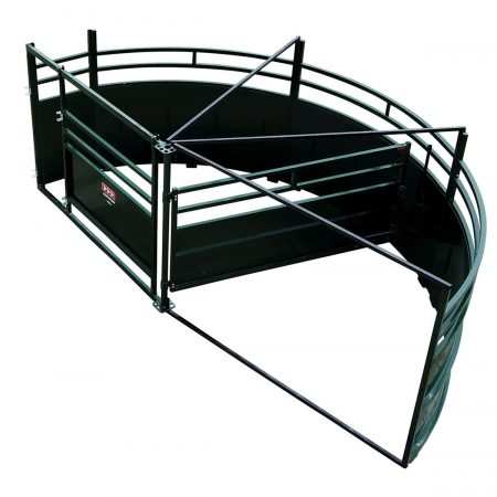 Single Alley Cattle Tub with 180 degree exit half sweep overhead image