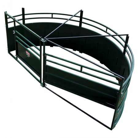 Single Alley Cattle Tub with 180 degree exit overhead image