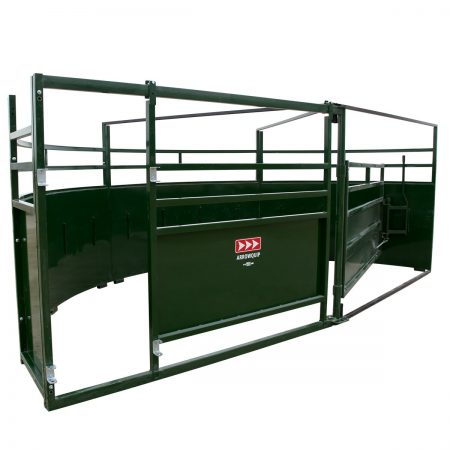 Single Alley Cattle Tub with 180 Degree exit side view