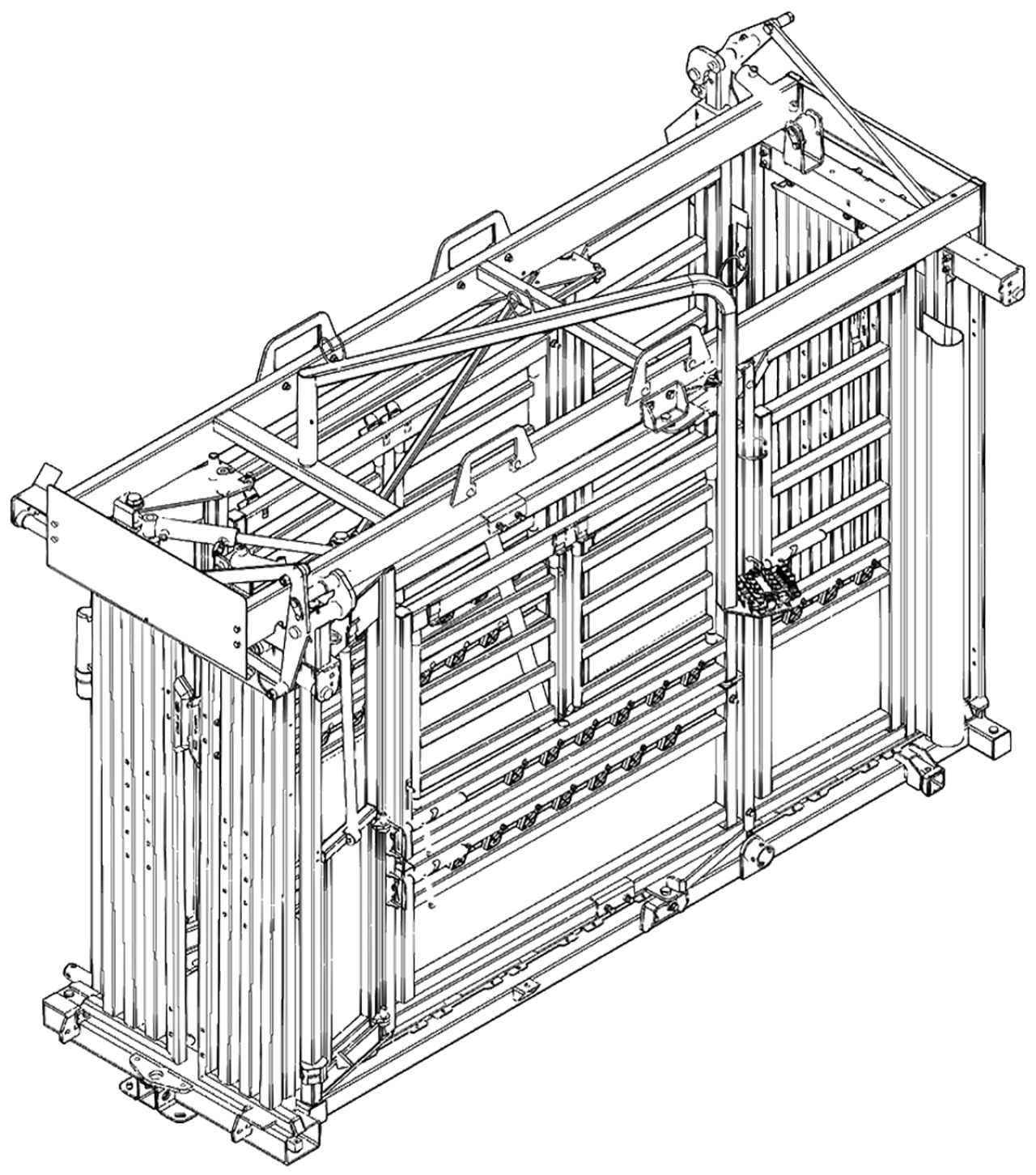 CAD drawing of the Q-Power 107 Series hydraulic cattle chute