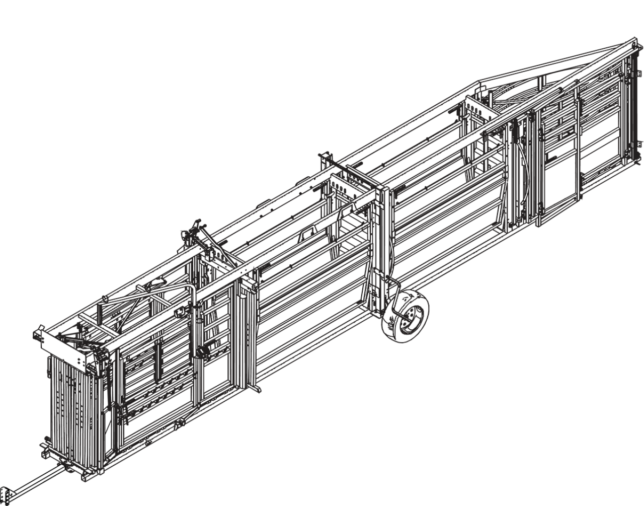 CAD drawing of the hydraulic portable cattle chute, alley and tub