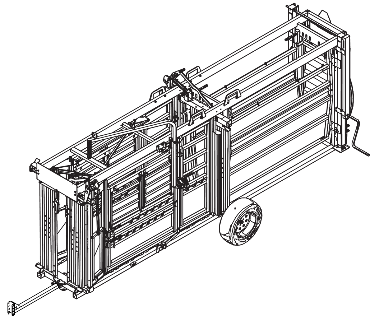CAD drawing of the hydraulic portable cattle chute & alley