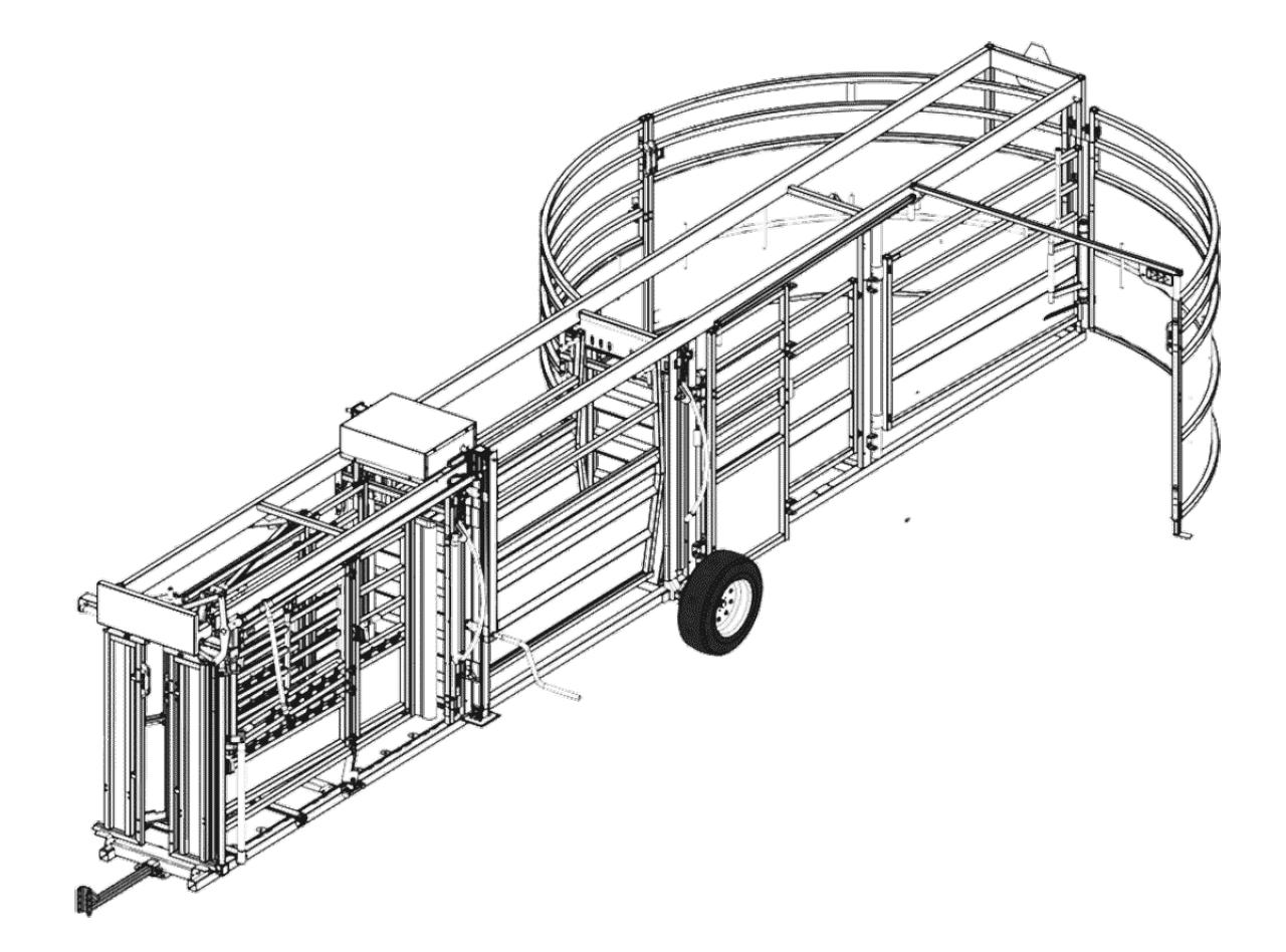 CAO de système combiné mobile de la série Q-Catch 86 comprenant la cage de contention, le couloir de contention réglable et l'enclos pivotant pour bovins