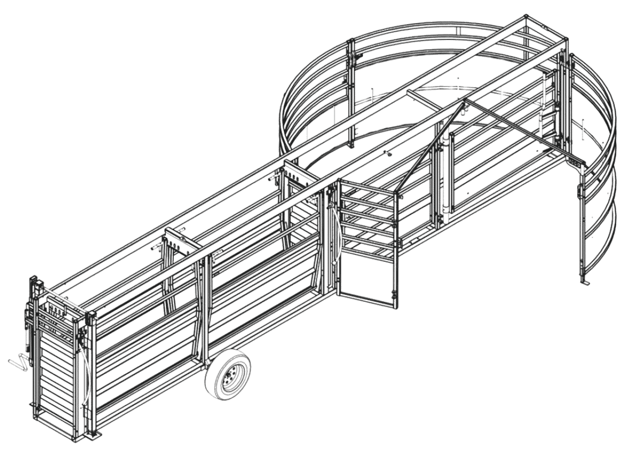 CAD drawing of Portable Cattle Tub & Alley