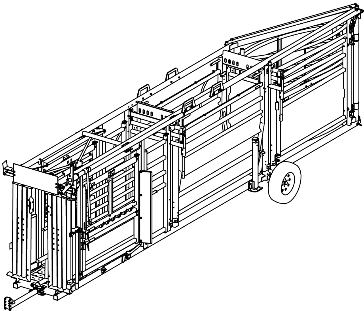 CAD image of 7408 portable cattle handling system