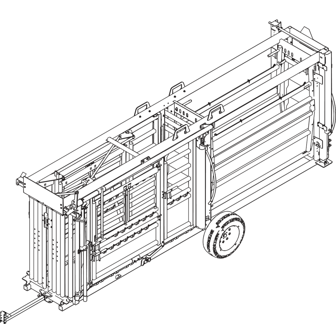 CAD drawing of the portable cattle chute and alley