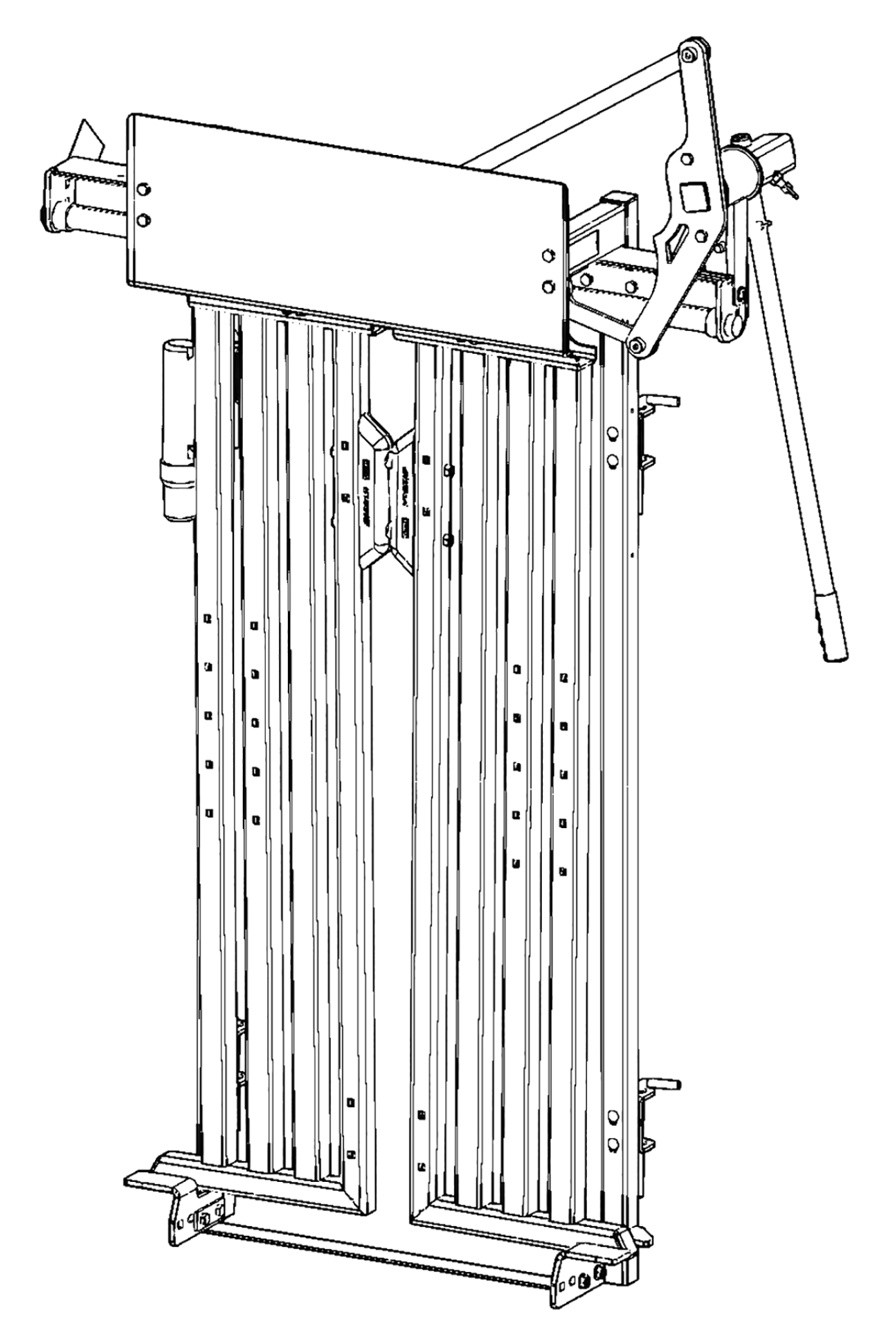 CAD drawing of a cattle head gate