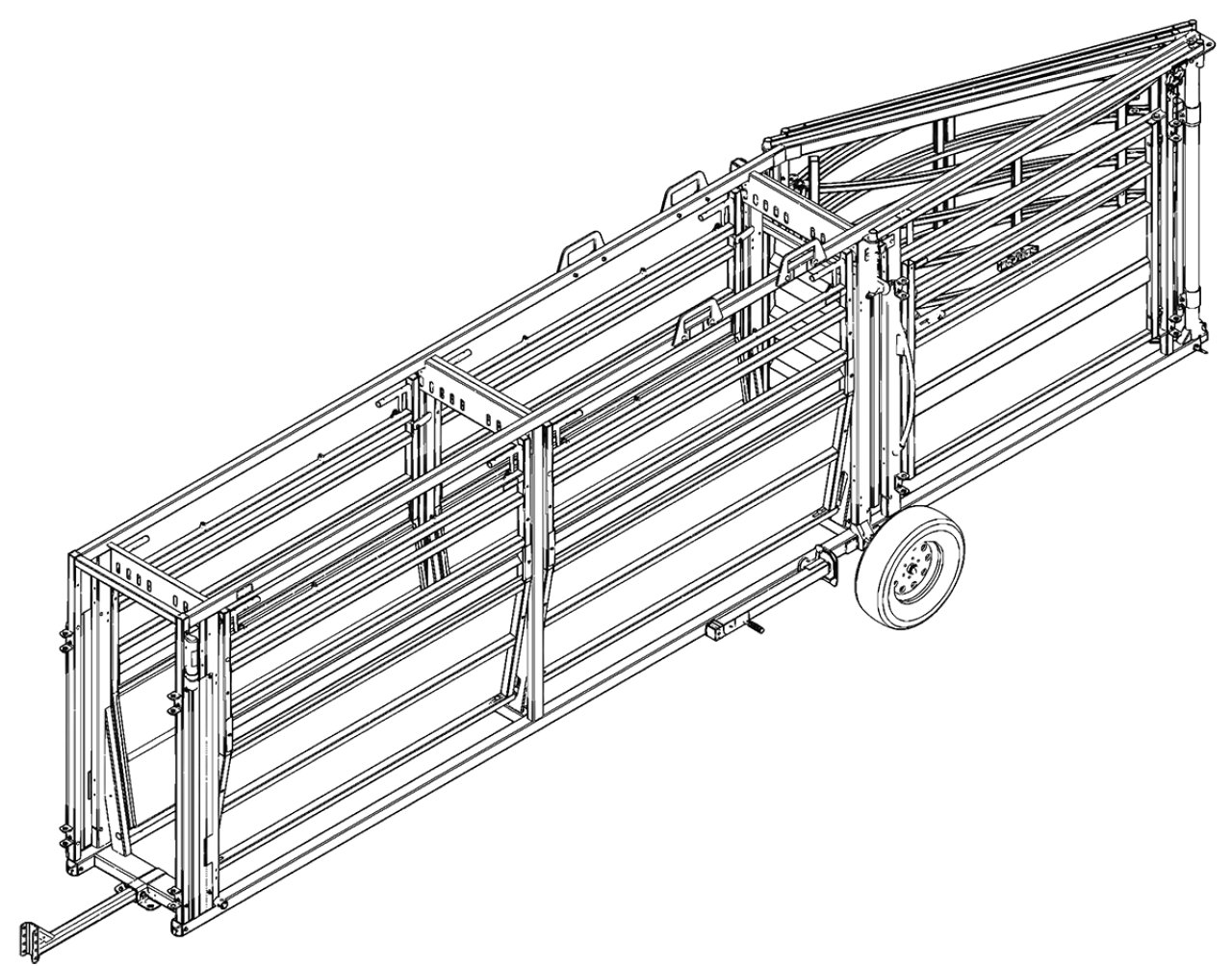 CAD of the portable cattle tub and alley