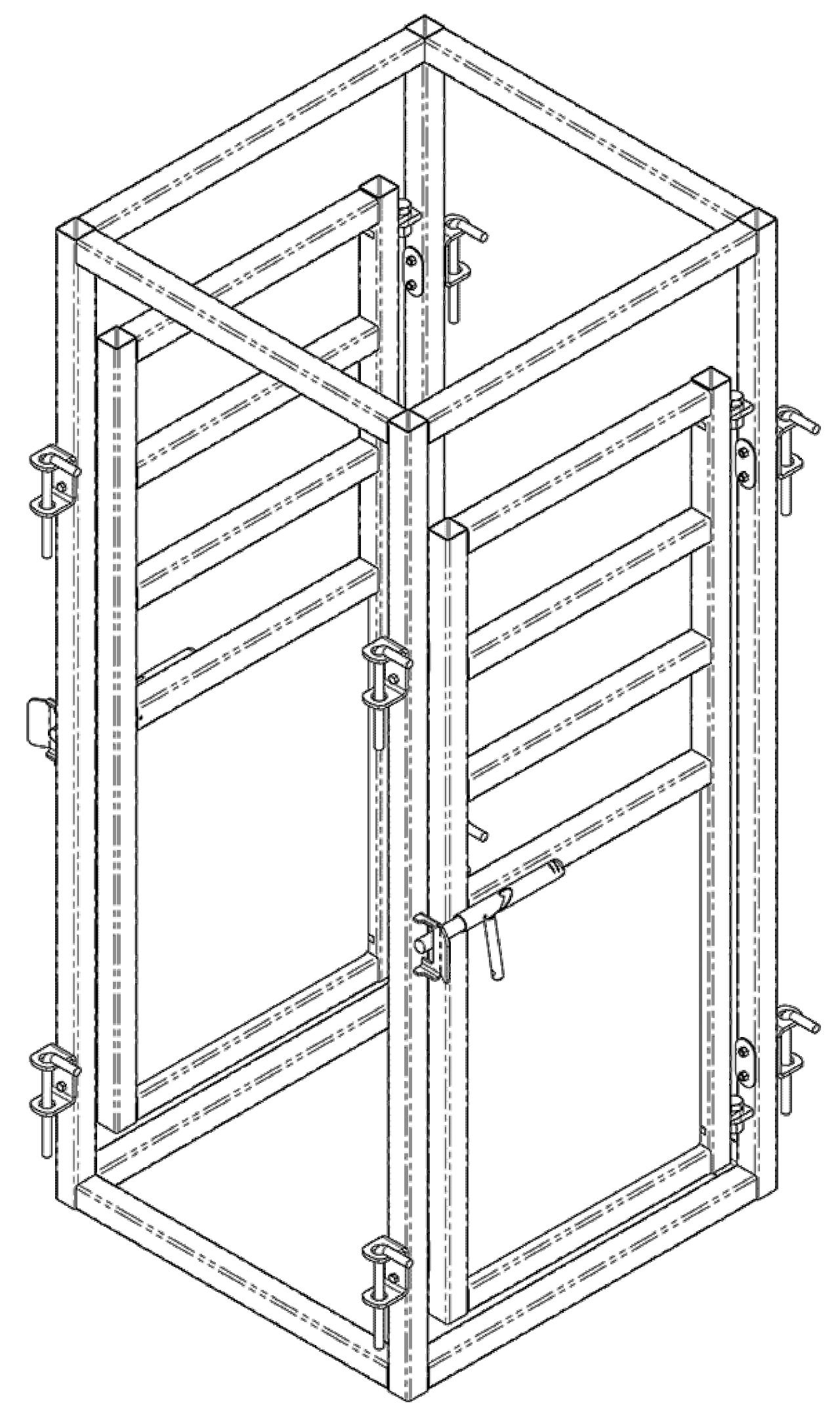 Dessin d'une cage médicale pour bovins par Arrowquip
