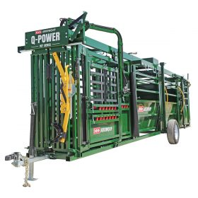 Portable Q-Power 107 Series hydraulic cattle chute, alley, and tub prepped for towing