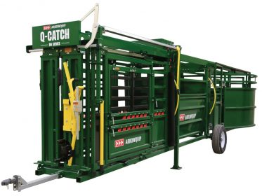 Q-Catch 86 Series cattle chute, alley, and tub prepared for towing