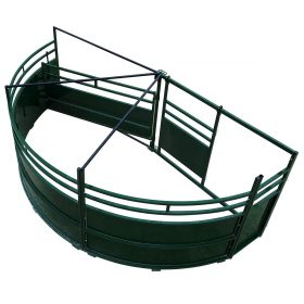Cattle crowding tub with 180 degree double alley exit