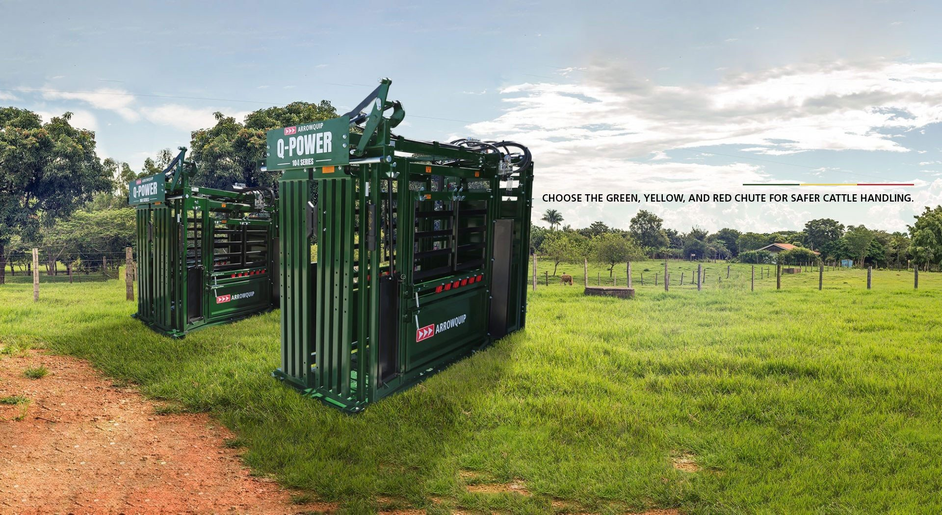 Q-Power 104 Series Standard and Deluxe Vet hydraulic squeeze chutes in grass pasture
