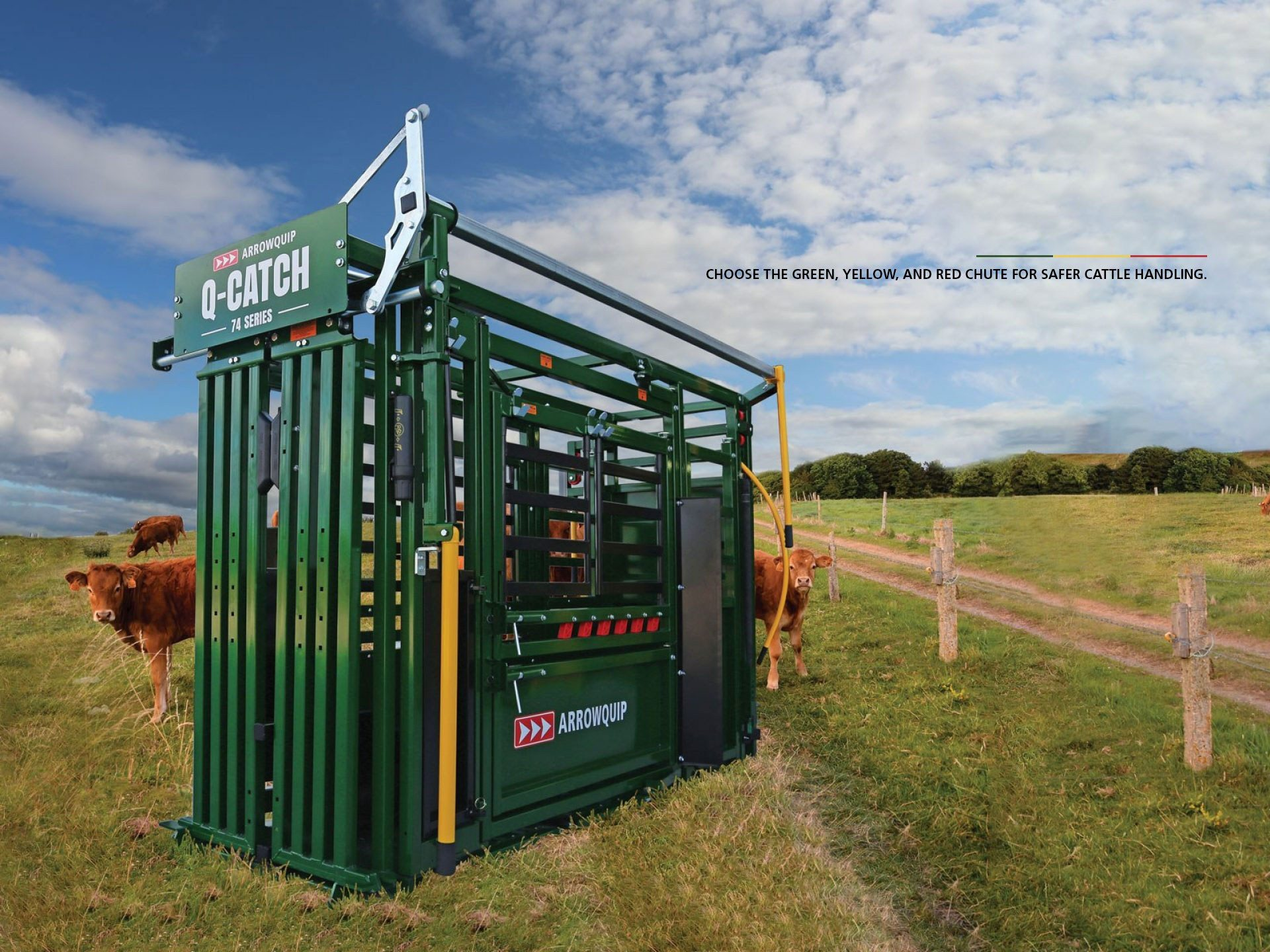 74 Series Squeeze Chute in pasture with cattle around