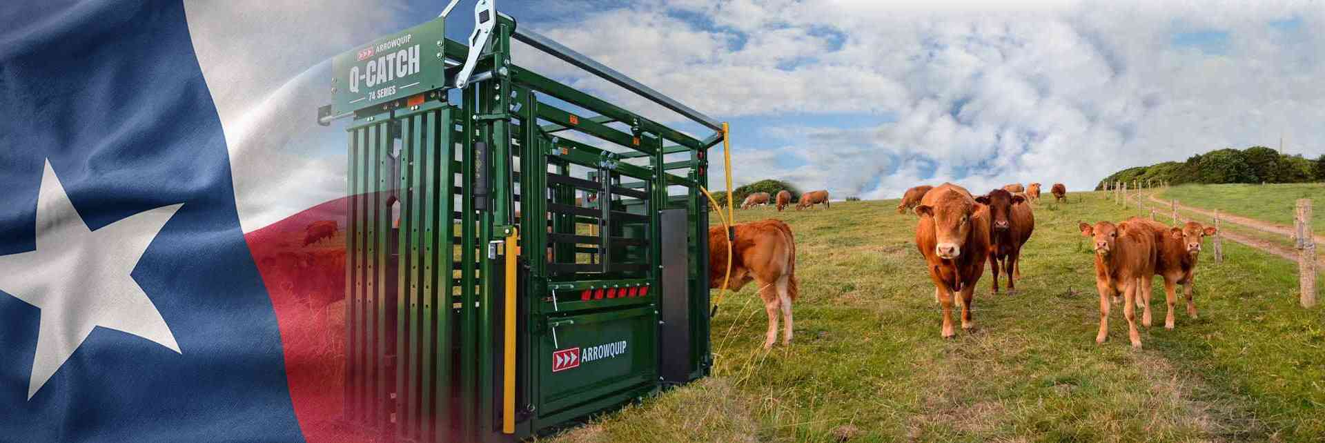 Q-Catch 74 Series Squeeze Chute on pasture with cattle with Texas flag
