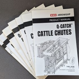 Stack of Arrowquip Cattle Equipment Manuals