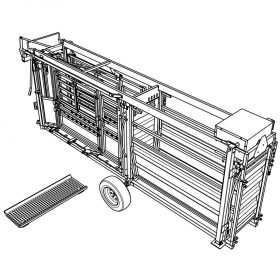 CAD Drawing of installing cattle scales in portable cattle handling system